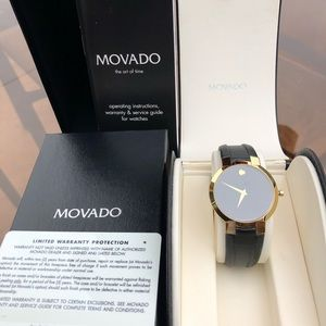 Movado Gold & Black Leather Band Watch
